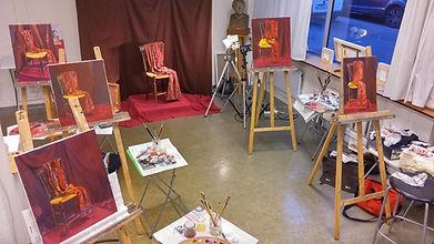 peinture à l huile en atelier