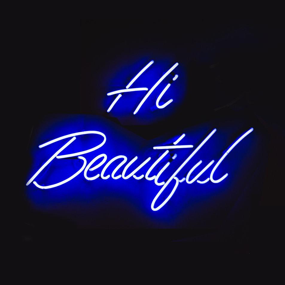 Luzes azuis de néon