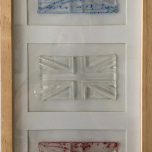 Trio of framed flags - blue, clear and red
