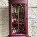 Glass door with wooden mullions