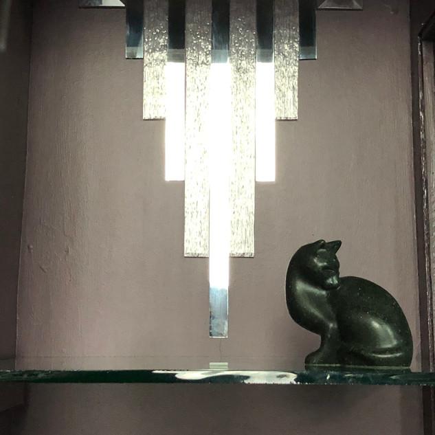 Eleanora inside the display cupboard
