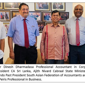 Chartered accountants felicitate State Minister of Finance Cabraal