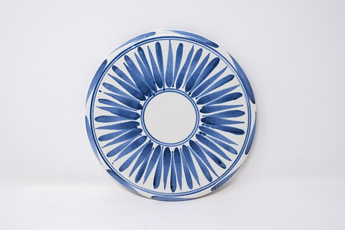 Hand Thrown Cheese/ Cake Platter with Hand Painted Sky Stripe Pattern (MH190)
