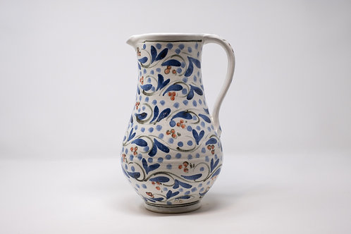 Large Handmade Ceramic Jug, Hand painted Triple Cherry Pattern