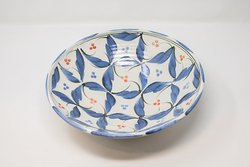 Ceramic Bowl with Hand Painted Blue Wave with Red Dots Decoration (MH173)