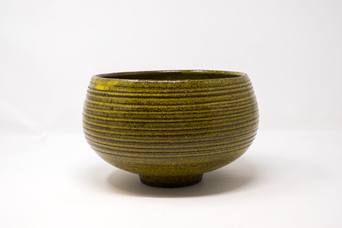 Hand Thrown Bowl/ Vessel with a Yellow glaze (MH184)