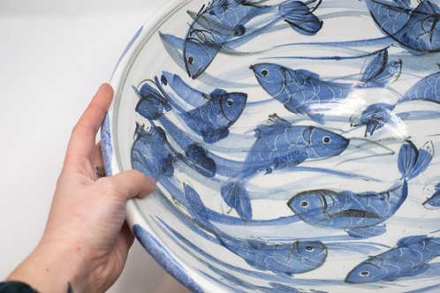 Large Handmade Ceramic Bowl, Hand painted Happy Fish Decoration