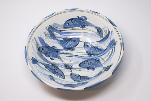 Handmade Ceramic Bowl, Hand Painted Happy Fish Pattern
