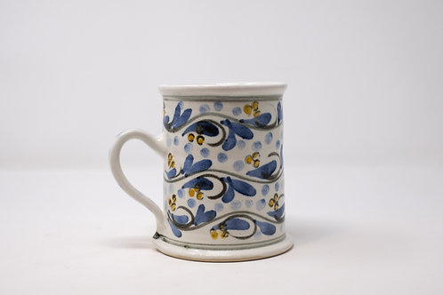 Large Mug with Hand Painted Blue Triple Cherry pattern (MH153)