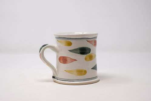 Handmade Mug, with Hand Painted Green Feast Pattern (MH152)