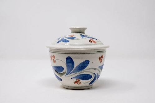 Handmade Storage Jar with Blue Triple Cherry Red Pattern (MH3)