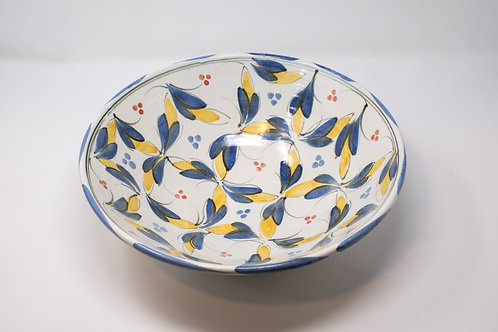 Large Handmade Ceramic Bowl, Hand painted Fiesta Decoration