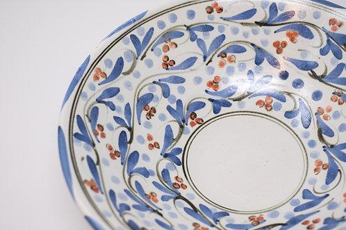 Handmade Ceramic Bowl, Hand Painted Triple Cherry Red Decoration
