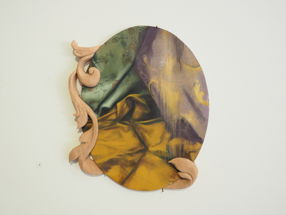 Manifold, Oil on MDF & wood carving, 31 x 36 cm, 2020 (sold)