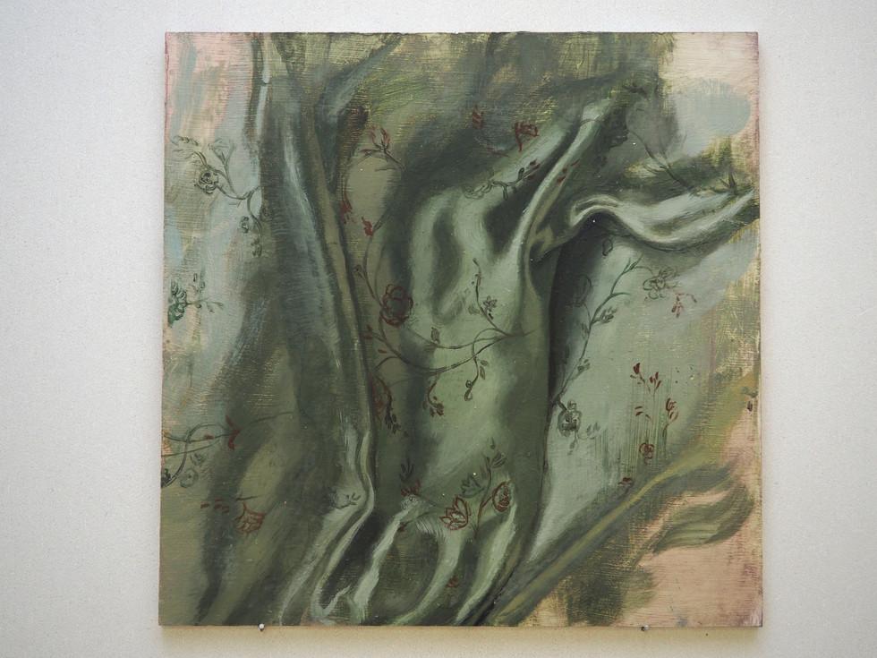Drapery study, Fig 2., Oil on MDF, 40 x 40 cm, 2019