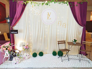 Champagne & Purple color Curtain+LED Photo Booth+Reception Rustic Theme Decoration