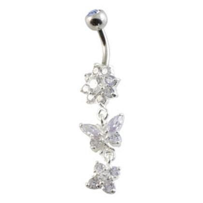 Flower Butterfly Silver & Steel Navel