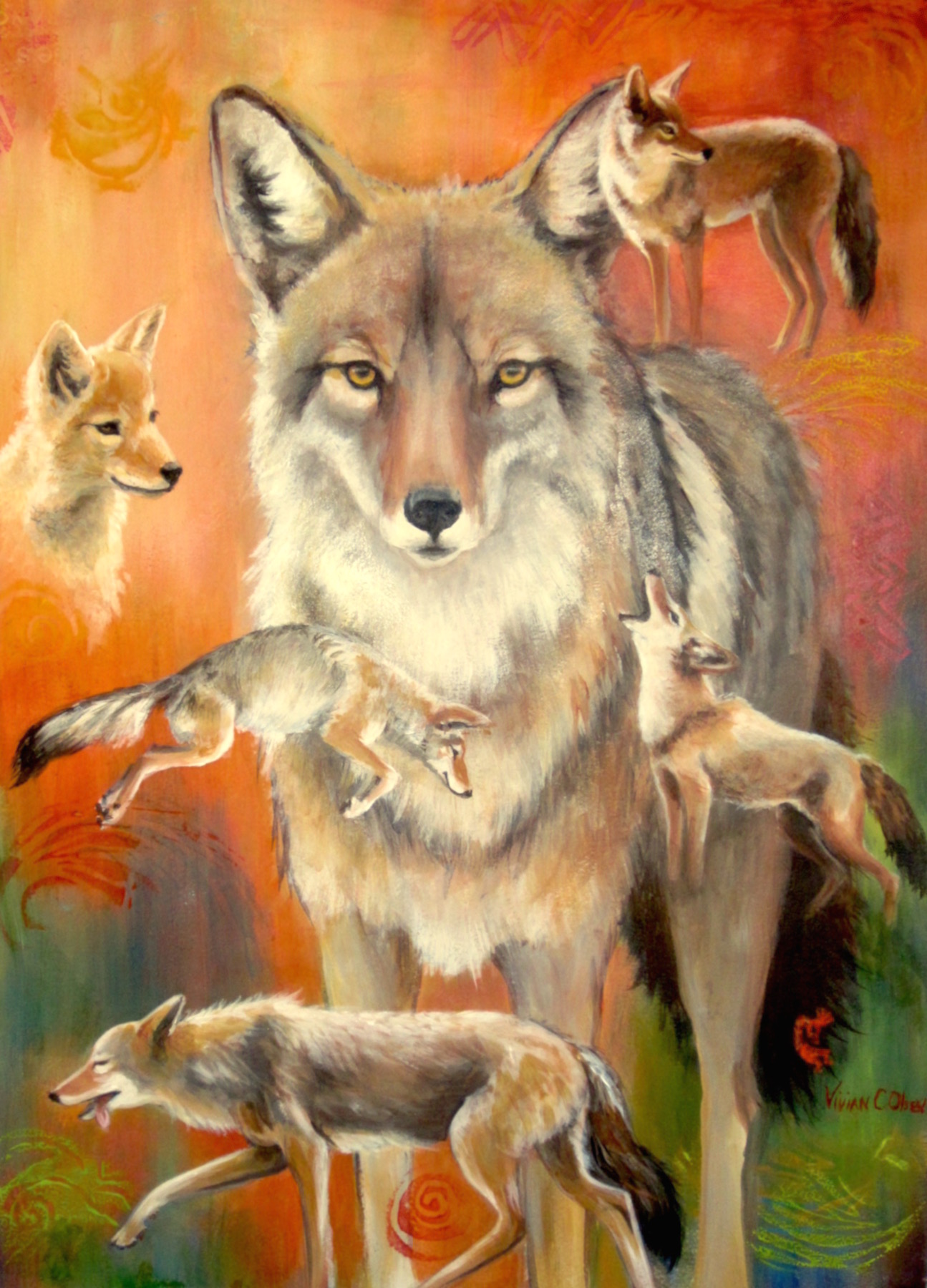 """Coyote Dreams""  acrylic  28x22 in."