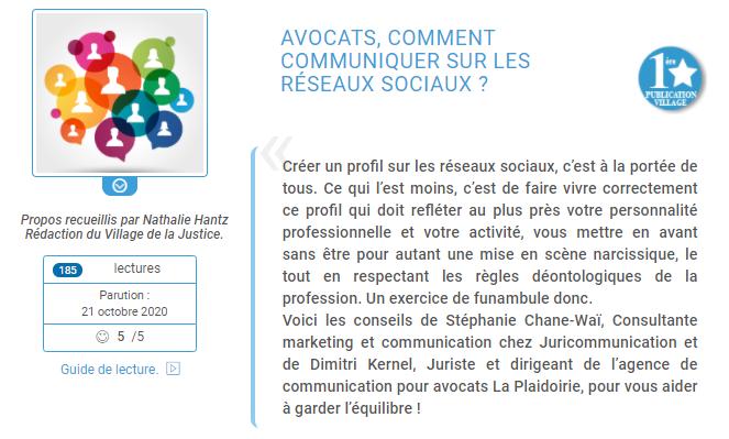 Village de la justice - Dimitri Kernel - Réseaux sociaux - Avocats