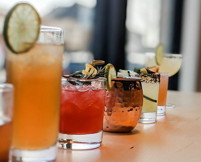 Lineup of premium cocktails at Crafted one of the best cocktail bars in Peoria
