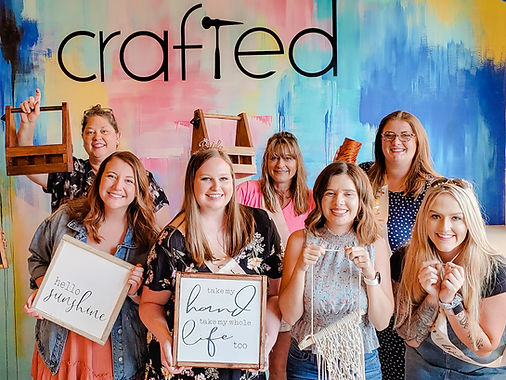 Bachelorette Party showing projects at Crafted DIY Studio & Bar