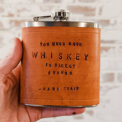 Personalized Leather Wrapped Flask great fun bachelor party idea in Peoria or groomsmen gift