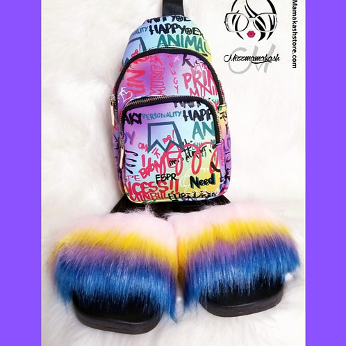 """New York City Set"" Fuzzy Slides & Graffiti Backpack"