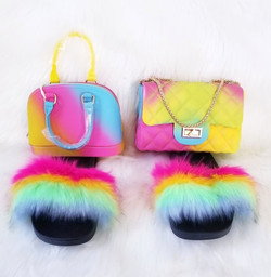 Fuzzy Slippers with Matching Bag