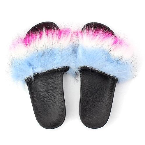 "Fuzzy Slides ""Baby Blue, White, Pink"""