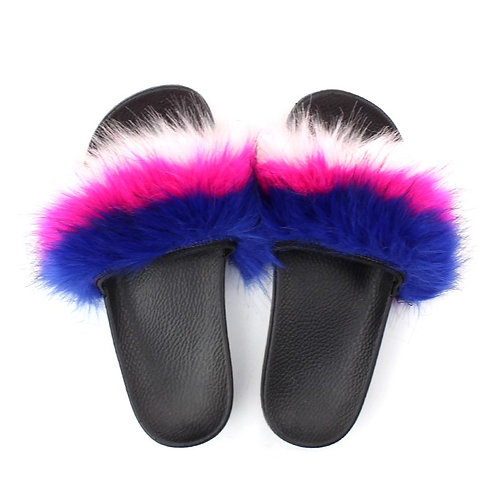 "Fuzzy Slides ""Royal Blue, Hot Pink, White"""