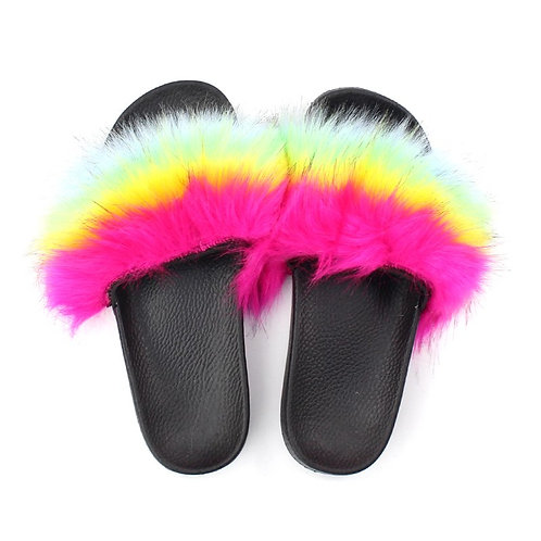 """Fuzzy Slides """"Hot Pink, Yellow, Lime Green, Baby Blue"""""""