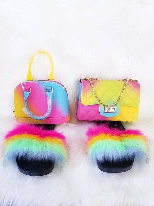 """Bahamas"" Fuzzy Slides & Matching Purse Set- Buckle or Zipper"
