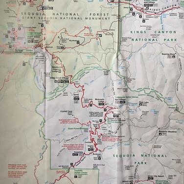 Carte Kings Canyon et Sequioa Park