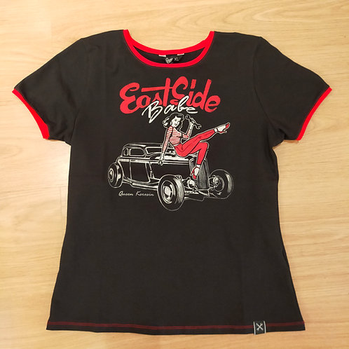 T-shirt Black Vintage East Side Babe by Queen Kerosin