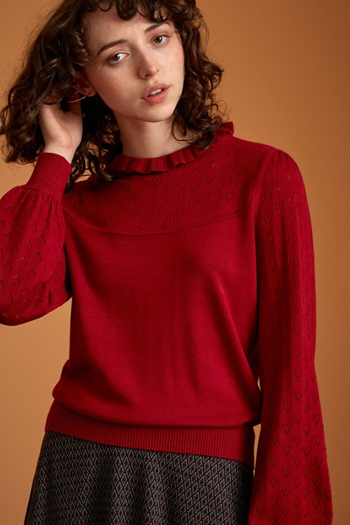 Izu sweater heart ajour red by King Louie