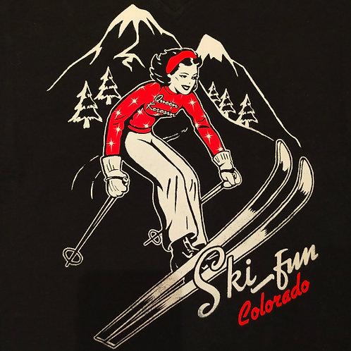 T-shirt Black V-neck Ski Fun  by Queen Kerosin