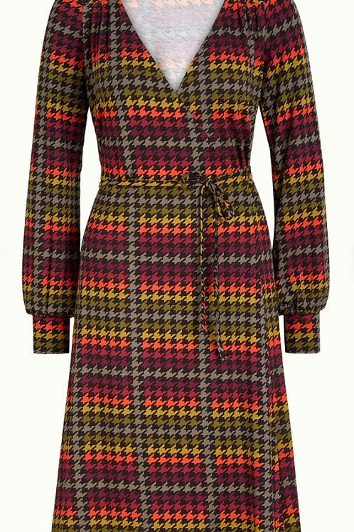 Mandy Wrap Dress Houndstooth by King Louie