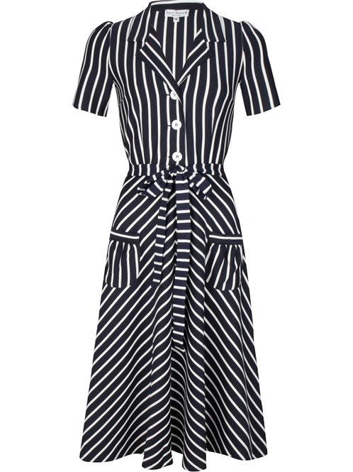 Revers Dress Midi Stripe by Very Cherry