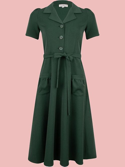 Revers Dress Green Garbardine by Very Cherry