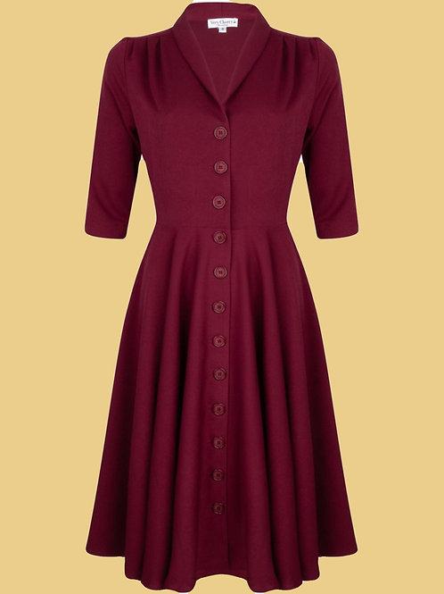 Very Cherry D'laine Dress Burgundy