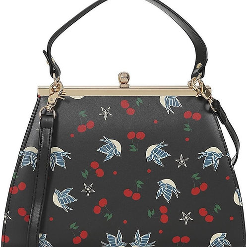 Cherries and Swallow Bag Black by Collectif