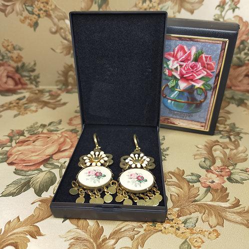 Oorbellen hanger vintage folklore roze