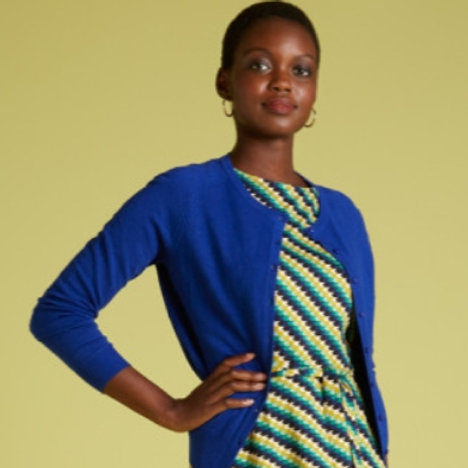 Cardi Raglan Roundneck Droplet Dazzling Blue by King Louie