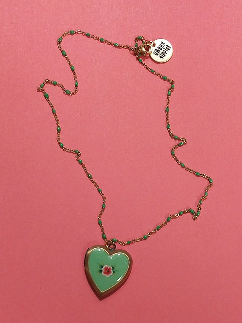 Turquoise medaillon ketting