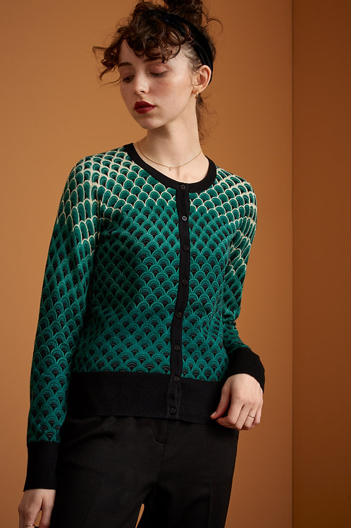 Cardi Roundneck Pastery Knit Black by King Louie