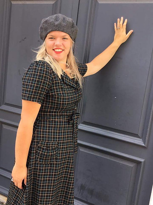 Revers Dress Midi Tartan by Very Cherry