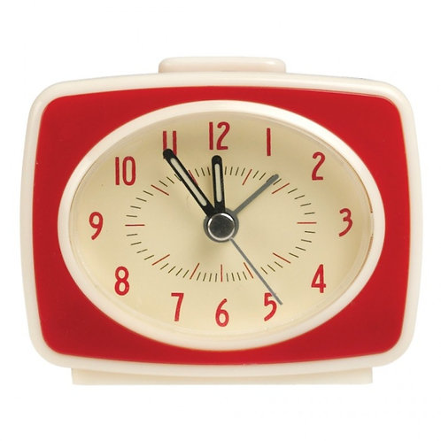 RED RETRO TV STYLE ALARM CLOCK