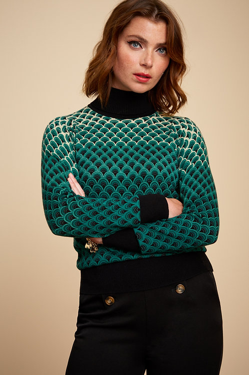 Rollneck Top Pastery Black by King Louie