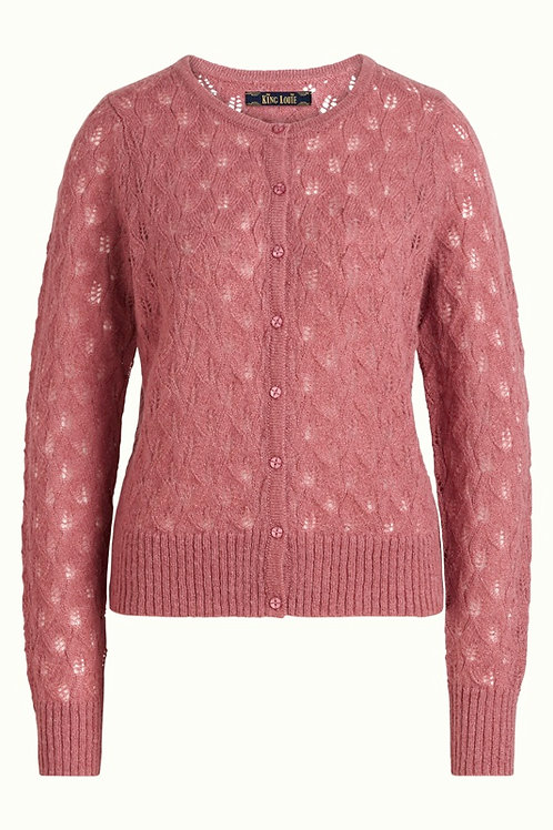 Cardi Roundneck Vallina Velvet Pink by King Louie