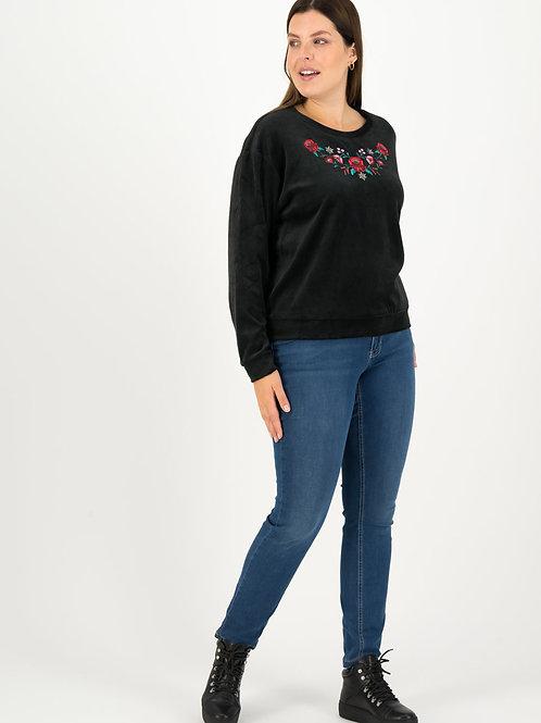 Sweater velours black flowers by Blutsgeschwister
